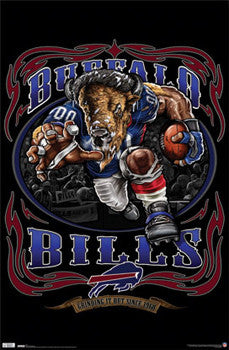 "Buffalo Bills ""Grinding it Out Since 1960"" NFL Football Theme Art Poster - Costacos Sports"