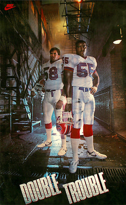 "Buffalo Bills ""Double Trouble"" (Shane Conlan and Cornelius Bennett) Buffalo Bills Vintage Poster - Nike 1987"