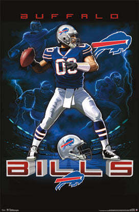 "Buffalo Bills ""On Fire"" NFL Theme Art Poster by Liquid Blue - Costacos Sports"