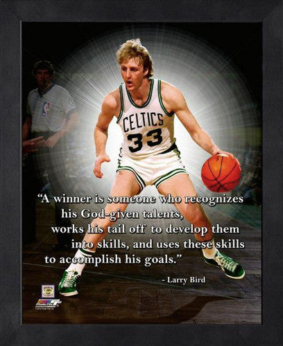 "Larry Bird ""Winner"" Boston Celtics FRAMED 16x20 PRO QUOTES PRINT - Photofile"