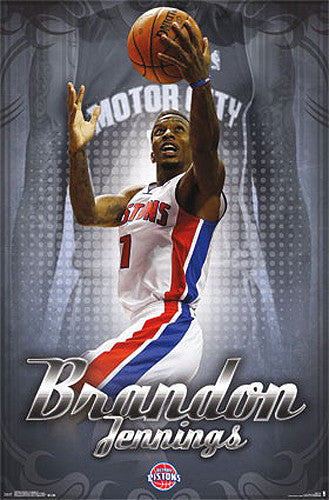"Brandon Jennings ""Motor City"" Detroit Pistons NBA Basketball Action Poster - Costacos 2014"