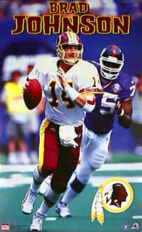"Brad Johnson ""Scramble"" Washington Redskins QB Poster - Starline Inc. 1999"