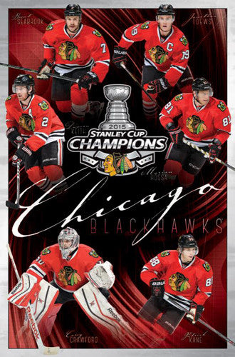 Chicago Blackhawks 2015 Stanley Cup Champs 6-Player Commemorative Poster - Trends