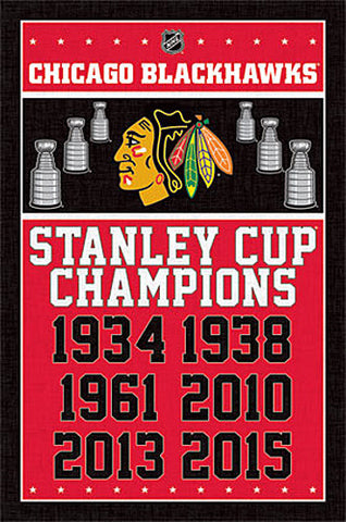 Chicago Blackhawks 6-Time Stanley Cup Champions Commemorative Poster - Trends