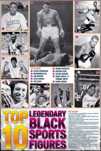 Top 10 Legendary Black Sports Figures Historical Wall Chart Poster - African-American Athletes