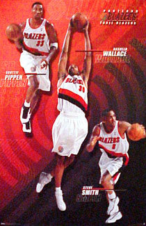 "Portland Trail Blazers ""Three Stars"" Poster (Pippen, Wallace, Smith) - Costacos 2000"