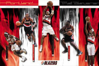 "Portland Trail Blazers ""Red Hot"" Poster (Pippen, Wells, Anderson, Davis, Wallace) - Costacos 2002"