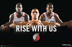 "Portland Trailblazers ""Rise With Us"" (2009) Poster - Costacos Sports"