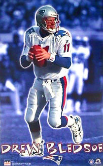 "Drew Bledsoe ""Patriot Blue"" New England Patriots Poster - Starline 1998"