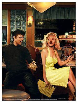 "Elvis and Marilyn in Diner ""Blue Plate Special"" by Chris Consani Poster Print - Image Conscious"