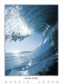 "Surfing ""Blue Curl"" Ocean Wave Poster Print - Creation Captured"