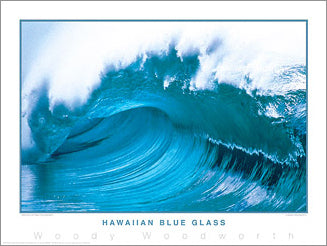 "Surfing ""Hawaiian Blue Glass"" Ocean Wave Poster Print - Creation Captured"