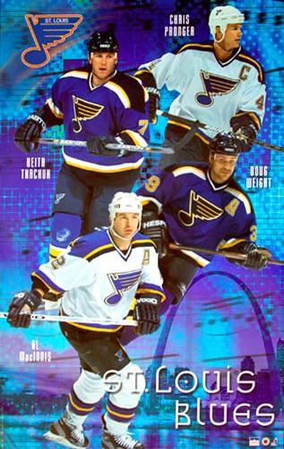 "St. Louis Blues ""Superstars"" Poster (MacInnis Pronger, Weight, Tkachuk) - Starline 2001"