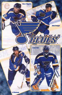 "St. Louis Blues ""Four Stars"" Poster (Fuhr, Pronger, MacInnis, Turgeon) - Costacos 1998"