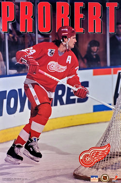 "Bob Probert ""Action"" Detroit Red Wings NHL Hockey Action Poster - Starline 1992"