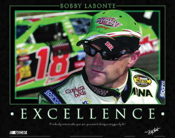 "Bobby Labonte ""Excellence"" NASCAR Motivational Poster - Time Factory 2004"