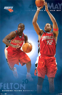 "Raymond Felton and Sean May ""Carolina Duo"" Charlotte Bobcats NBA Poster - Costacos 2006"