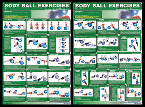 Body Ball Exercises Professional Fitness Wall Charts 2-Poster Combo - Productive Fitness