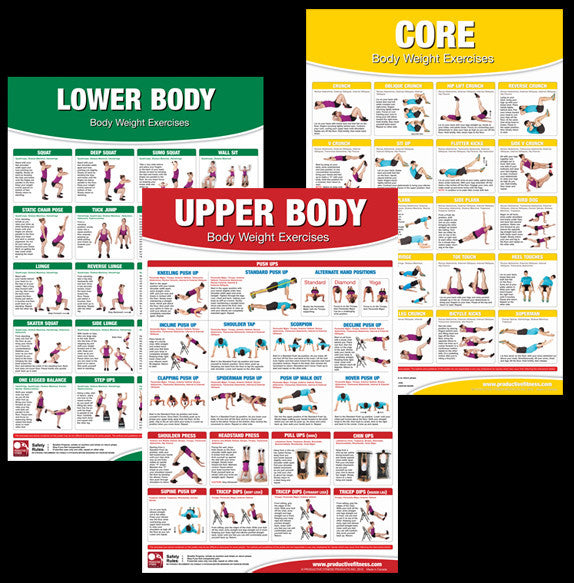 Body Weight Exercises 3-Poster Set Professional Fitness Wall Chart Combo - Productive Fitness
