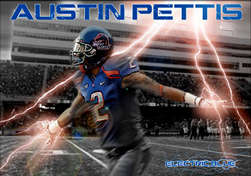 "Austin Pettis ""Electric Blue"" Boise State Broncos Football Poster - Team Spirit"