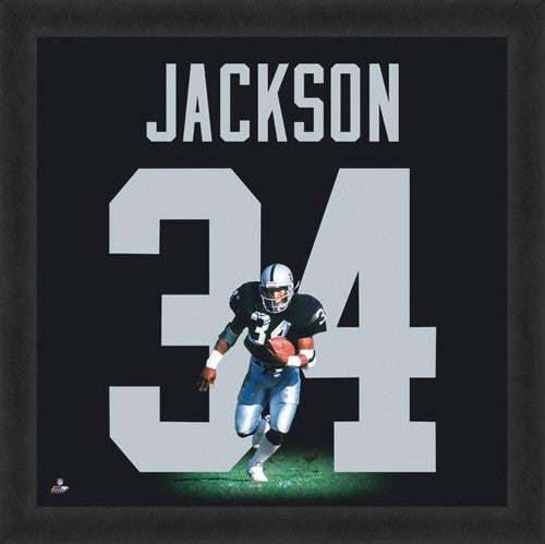 "Bo Jackson ""Number 34"" Los Angeles Raiders FRAMED 20x20 UNIFRAME PRINT - Photofile"