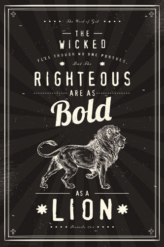 "Proverbs 28:1 ""Bold as a Lion"" Inspirational Poster - Slingshot Publishing"