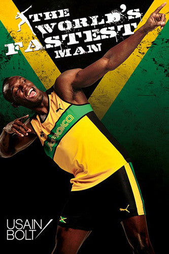"Usain Bolt ""World's Fastest Man"" (Arrow to the Moon) Running Poster - Pyramid International"