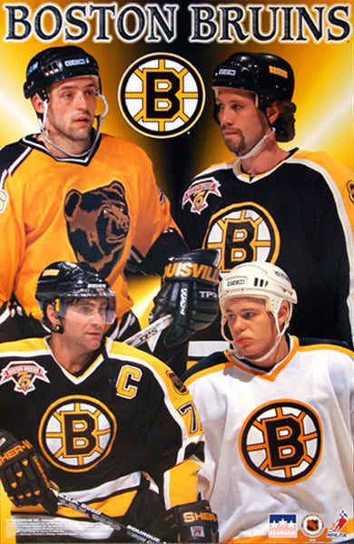 "Boston Bruins ""Four Stars"" Poster (Ray Bourque, Joe Thornton, Allison, Samsonov) - Starline 1998"