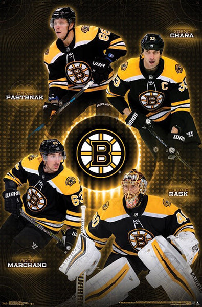 "Boston Bruins ""Four Stars"" (Pastrnak, Chara, Marchand, Rask) Poster - Trends 2018"