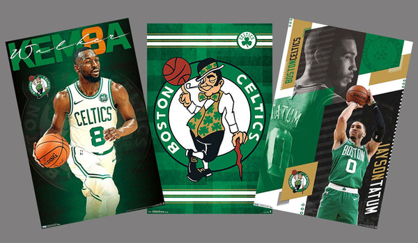 Boston Celtics NBA Basketball 3-Poster Combo (Kemba Walker, Jayson Tatum, Team Logo) - Trends International