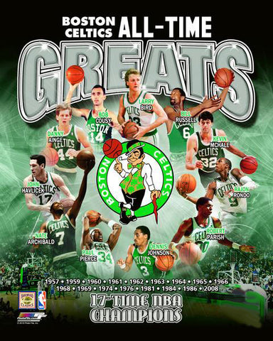 "Boston Celtics ""All-Time Greats"" (11 Legends, 17 Championships) Premium Poster Print - Photofile Inc."