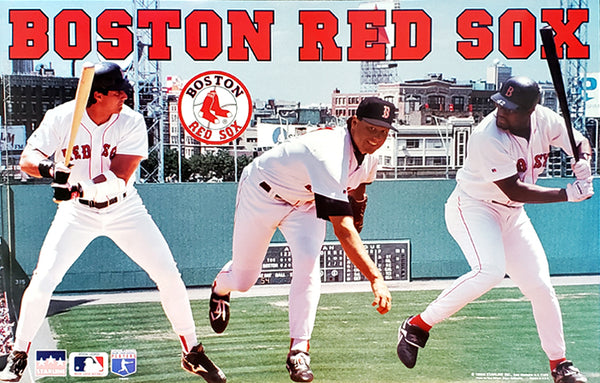 "Boston Red Sox ""Three Stars"" Poster (Roger Clemens, Jose Canseco, Mo Vaughn) - Starline 1995"