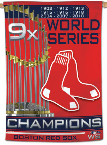 *SHIPS 11/19* Boston Red Sox 9-Time World Series Champs (2018) 28x40 Wall BANNER - Wincraft Inc.