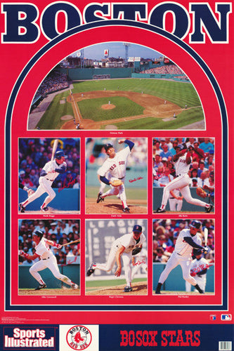 Boston Red Sox 1992 Superstars Sports Illustrated Poster (Clemens, Greenwell, Boggs, Burks, Viola, Plantier) - Marketcom