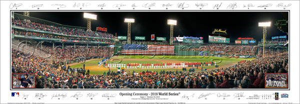 "Boston Red Sox ""World Series Majesty 2018"" Fenway Panoramic Poster Print w/26 Facs. Signatures - Everlasting (MA-424)"