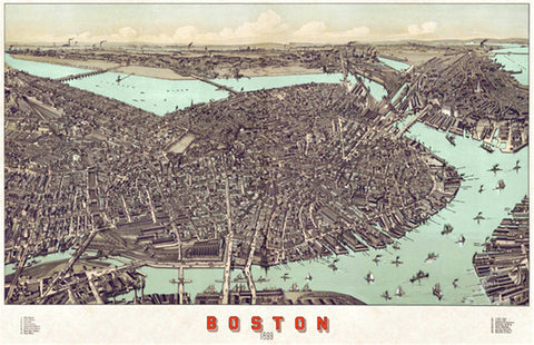 Boston, Massachusetts 1899 Classic Aerial Panorama Premium Poster Print (Albert E. Downs)