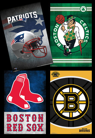 COMBO: Boston, MA Sports 4-Poster Combo (Patriots, Bruins, Celtics, Red Sox)