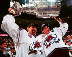 Ray Bourque and Joe Sakic 2001 Stanley Cup Celebration Colorado Avalanche Premium Poster - Photofile