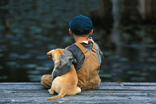 Best Friends on the Fishing Dock (Boy and his Puppy) Poster - Eurographics