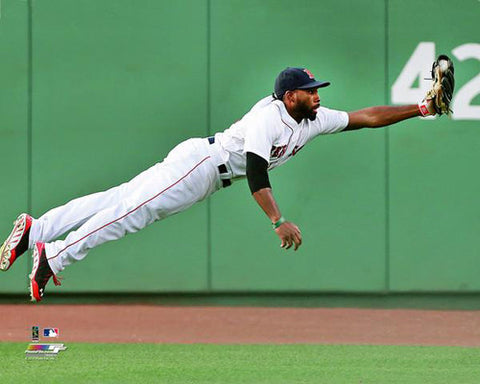 "Jackie Bradley Jr. ""Laying Out"" Boston Red Sox Premium MLB Poster Print - Photofile 16x20"
