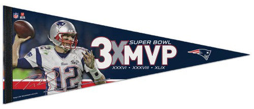 Tom Brady 3-Time Super Bowl MVP New England Patriots Premium Felt Pennant - Wincraft