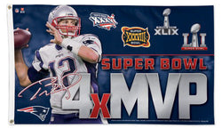Tom Brady 4-TIME SUPER BOWL MVP HUGE 3'x5' Deluxe-Edition Commemorative FLAG - Wincraft