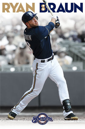 "Ryan Braun ""Brewer Blast"" Milwaukee Brewers MLB Action Poster - Costacos 2013"