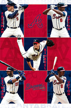"Atlanta Braves ""Five Stars"" (2014) MLB Superstars Action Poster - Costacos Sports"