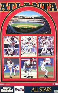 "Atlanta Braves ""All-Stars 1992"" Poster (Justice, Pendleton, Smoltz, Glavine) - Marketcom Inc."