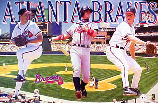 "Atlanta Braves ""Three Stars"" (1997) Poster (Maddux, Jones, Glavine) - Starline Inc."