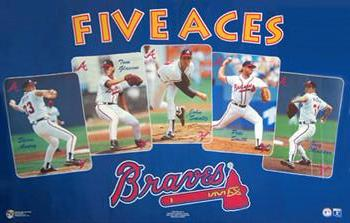 "Atlanta Braves ""Five Aces"" (1993) Poster (Maddux, Glavine, Smoltz, Avery, Smith) - Norman James Corp."