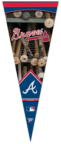 Atlanta Braves Official Dual-Logo Vertical Premium Felt Collector's Pennant - Wincraft Inc.