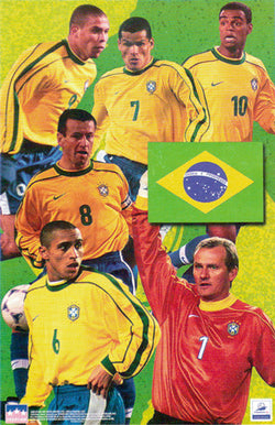 Team Brazil Soccer World Cup 1998 Official Superstars Poster - Starline Inc.
