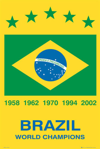 Brazil Soccer Five-Time World Cup Champions Commemorative Poster - GB Eye